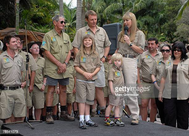 "Steve's father Bob, Wes Mannion, Bindi Irwin, Robert Irwin and Terri Irwin surrounded by Australia Zoo staff attend ""Steve Irwin Memorial Day"" at..."