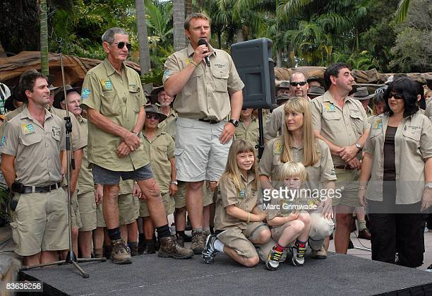 "Steve's father Bob, Wes Mannion, Bindi Irwin, Robert Irwin and Terri Irwin surrounded by Australia Zoo staff attend ""Steve Irwin Memorial Day"" at..."