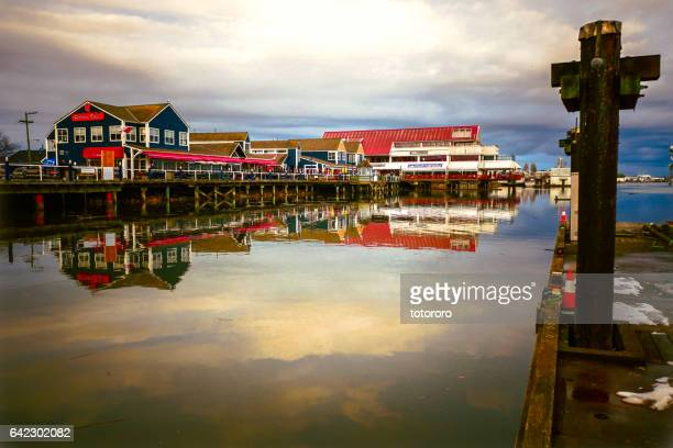 steveston fisherman's wharf in richmond bc canada - richmond stock pictures, royalty-free photos & images