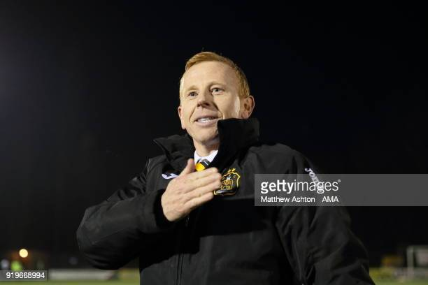 Stevie Aitken the head coach / manager of Dumbarton celebrates the 12 victory during to the Irn Bru Cup SemiFinal match between The New Saints and...