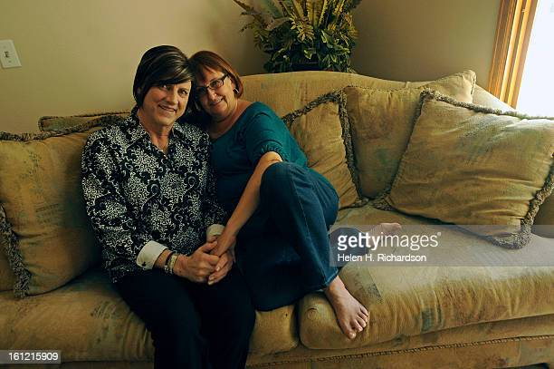 Stevie Crecelius and her wife Debbie are photographed in their home in Lonetree today May 8th 2012 Steve Crecelius is a well known Cherry Creek...