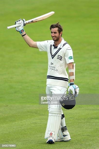 Stevie Eskinazi of Middlesex celebrates making his century during day three of the Specsavers County Championship division one match between...