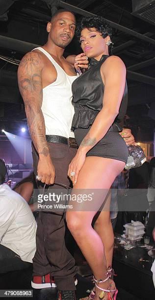 Stevie J and Joseline Hernandez attend Sips Birthday Celebration at Harlem Nights on March 15 2014 in Atlanta Georgia