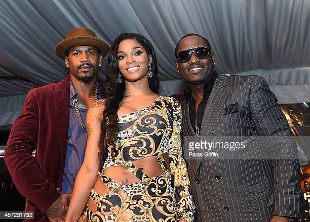 Stevie J Joseline Hernandez and Johnny Gill onstage at ATL Live On The Park at Park Tavern on October 14 2014 in Atlanta Georgia