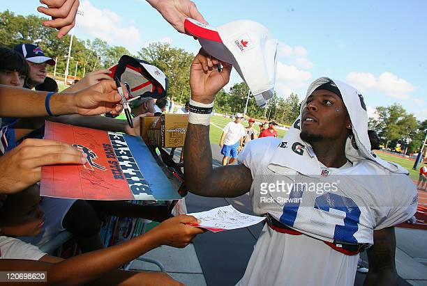 Stevie Johnson of the Buffalo Bills signs autographs during the Buffalo Bills Training Camp at St John Fisher College on August 8 2011 in Pittsford...