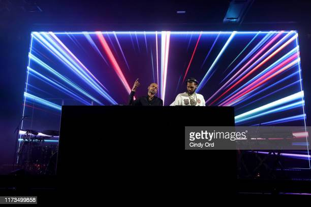 Stevie Martinez Jr and Chris Martinez of The Martinez Brothers perform as DKNY turns 30 with special live performances by Halsey and The Martinez...