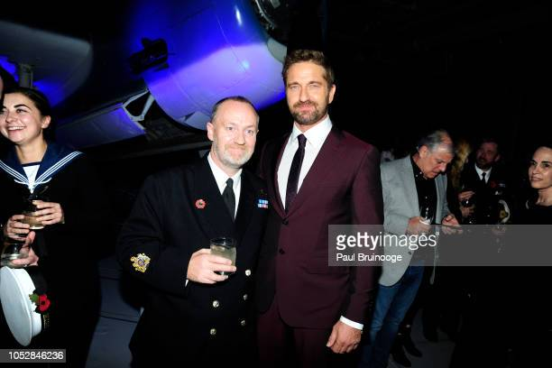 Stevie Milne and Gerard Butler attend Lionsgate With The Cinema Society Host The After Party For The World Premiere Of 'Hunter Killer' at Intrepid...