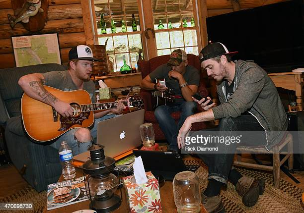Stevie Monce Trent Tomlinson and Dave Pittenger attend Country Rock Group Love And Theft Cabin Fever Writing Sessions on April 21 2015 in Dover...