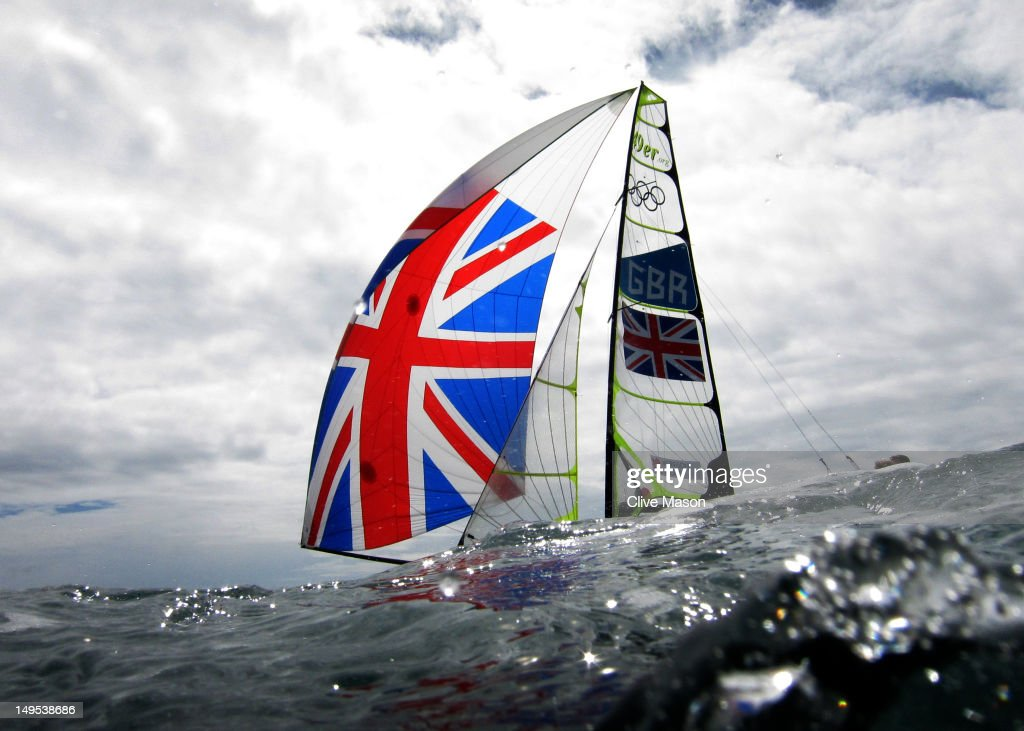 Stevie Morrison and Ben Rhodes of Great Britain compete in the Men's 49er Sailing on Day 3 of the London 2012 Olympic Games at Weymouth Harbour on July 30, 2012 in Weymouth, England.