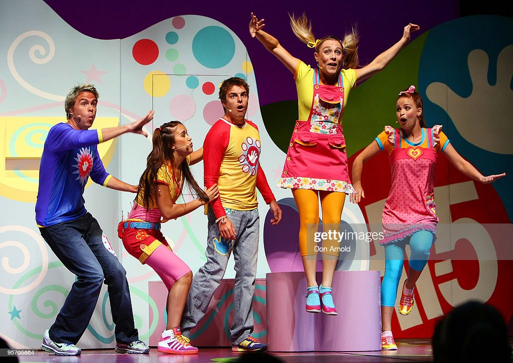Stevie Nicholson, Fely Irvine, Tim Maddren, Casey Burgess and Lauren Brant of the new Hi-5 line-up performs a segment from their new stage show 'Hi-5 Surprise!' at the Theatre Royal on January 12, 2010 in Sydney, Australia.