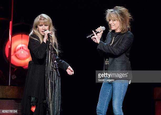 Stevie Nicks and Chrissie Hynde of The Pretenders perform at The Palace of Auburn Hills on November 27 2016 in Auburn Hills Michigan