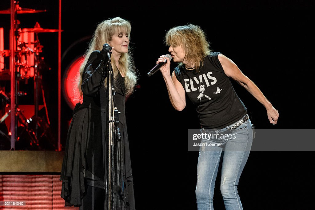 Stevie Nicks and Chrissie Hynde of the Pretenders perform on stage at BB&T Center on November 4, 2016 in Sunrise, Florida.
