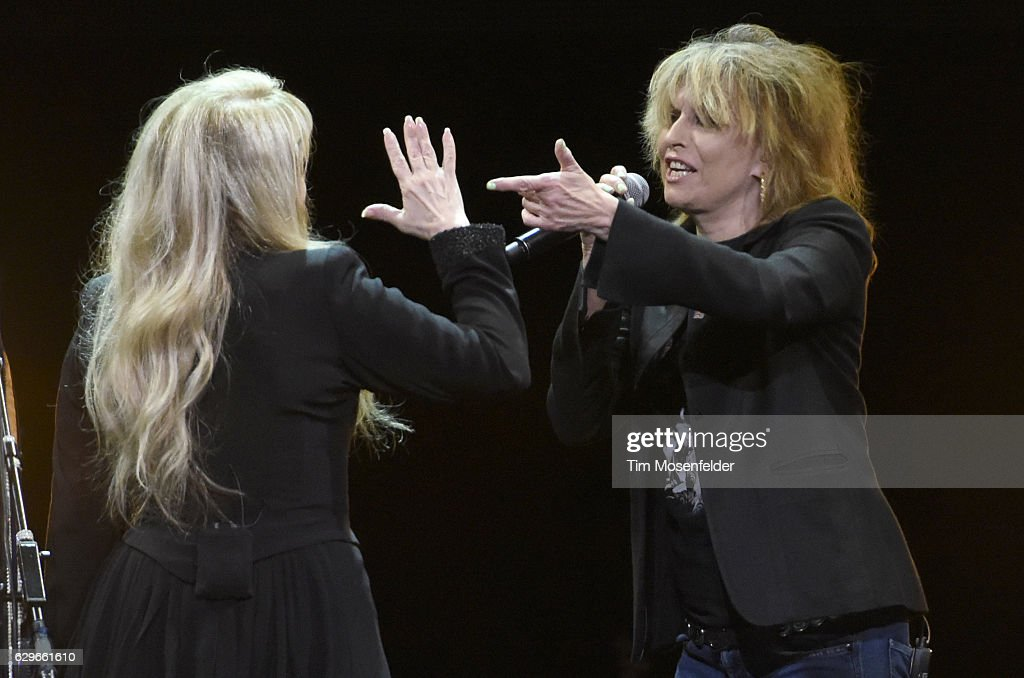 Stevie Nicks (L) and Chrissie Hynde perform during her '24 Karat Gold Tour' at Golden 1 Center on December 13, 2016 in Sacramento, California.