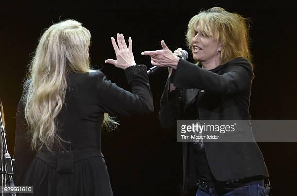 Stevie Nicks and Chrissie Hynde perform during her '24 Karat Gold Tour' at Golden 1 Center on December 13 2016 in Sacramento California