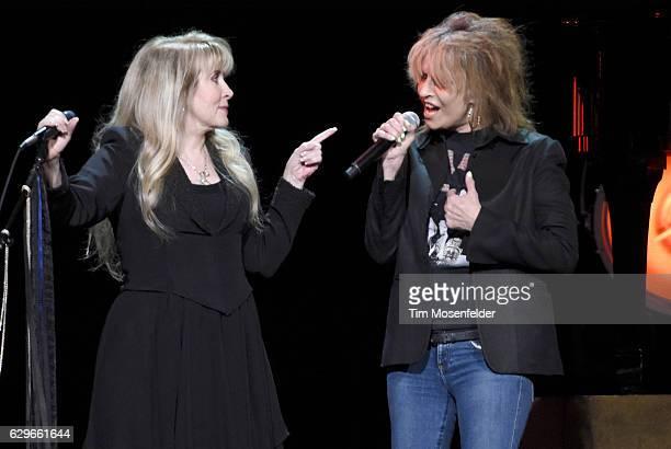 Stevie Nicks and Chrissie Hynde perform during Stevie's '24 Karat Gold Tour' at Golden 1 Center on December 13 2016 in Sacramento California