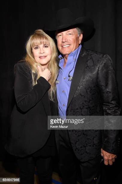 Stevie Nicks and George Strait attend MusiCares Person of the Year honoring Tom Petty at the Los Angeles Convention Center on February 10 2017 in Los...
