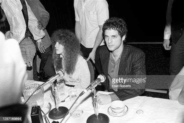 Stevie Nicks and Lindsey Buckingham at a Fleetwood Mac press conference at the Hotel St Moritz in New York City on November 9, 1979.