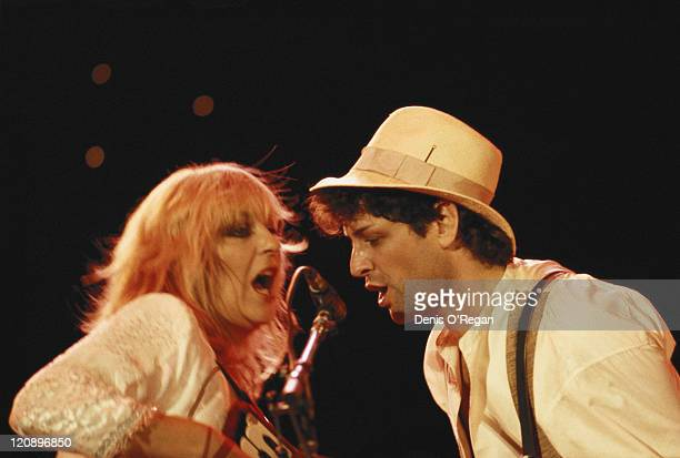 Stevie Nicks and Lindsey Buckingham Fleetwood Mac, performing on stage with Fleetwood Mac, Palm Springs, California, circa 1985.