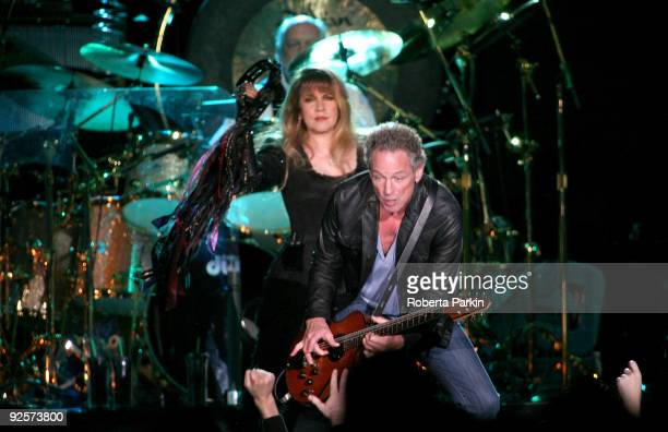 Stevie Nicks and Lindsey Buckingham of Fleetwood Mac perform at Wembley Arena on October 30, 2009 in London, England.
