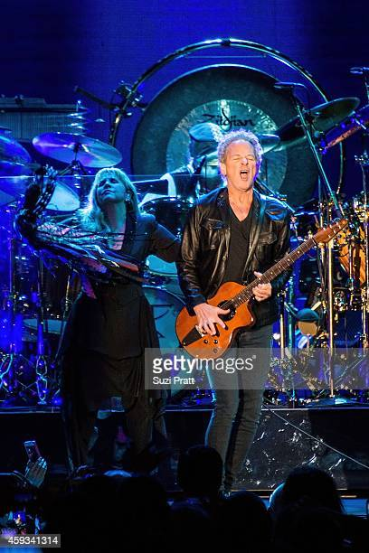 Stevie Nicks and Lindsey Buckingham of Fleetwood Mac perform at the Tacoma Dome on November 20 2014 in Tacoma Washington