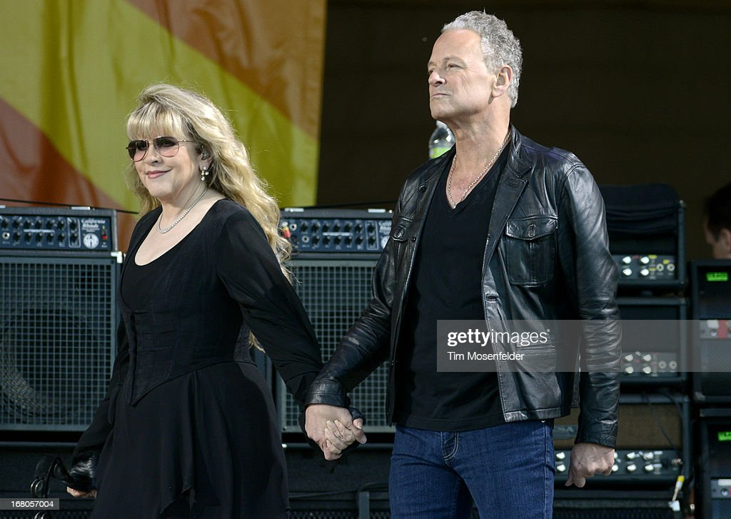 Stevie Nicks (L) and Lindsey Buckingham of Fleetwood Mac take the stage at the 2013 New Orleans Jazz & Heritage Festival at Fair Grounds Race Course on May 4, 2013 in New Orleans, Louisiana.