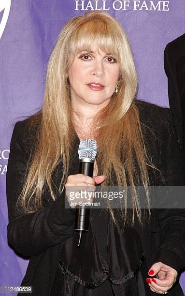 Stevie Nicks during 20th Annual Rock and Roll Hall of Fame Induction Ceremony Press Room at Waldorf Astoria Hotel in New York City New York United...