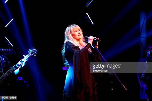 Stevie Nicks performs 'Rhiannon' with the kid band at the hit musical based on the film 'School of Rock' on Broadway at The Winter Garden Theatre on...