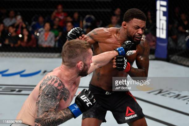 Stevie Ray of United Kingdom punches Michael Johnson in their lightweight bout during the UFC Fight Night event at Singapore Indoor Stadium on...