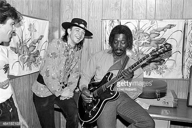Stevie Ray Vaughan and Buddy Guy backstage at the Pier in New York City on July 16 1983
