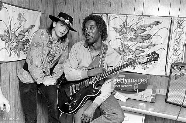 Stevie Ray Vaughan and Buddy Guy backstage at the Pier in New York City on July 16, 1983.