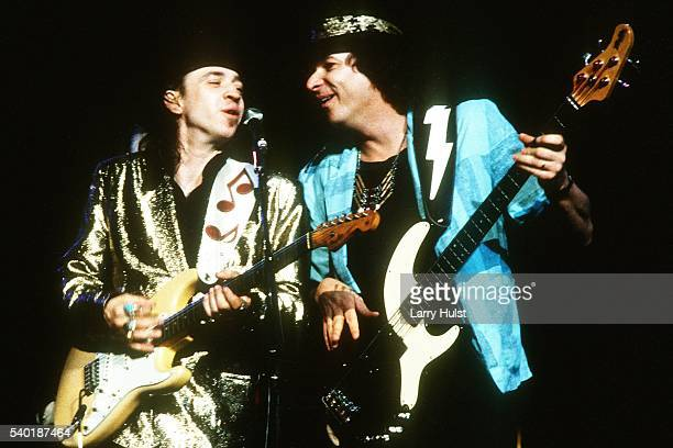 Stevie Ray Vaughan and Tommy Shannon are performing at the Concord Pavilion in Concord, CA. On March 16, 1986.