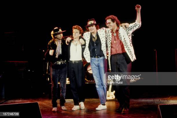 Stevie Ray Vaughan Chris Layton Tommy Shannon and Reese Wynans performing as 'Double Trouble' at Concord Pavilion in Concord California on May 24 1987