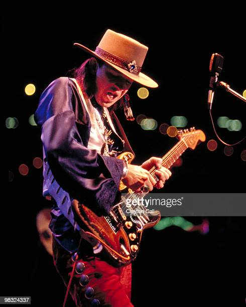 Stevie Ray Vaughan performing a private concert for the US Navy in San Francisco as part of Fleet Week celebrations on October 14, 1985. He plays a...