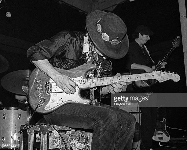 Stevie Ray Vaughan performing at the Keystone Berkeley on August 19, 1983. He plays a Fender Stratocaster guitar.