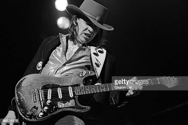 Stevie Ray Vaughan performing at the Warfield Theater in San Francisco on November 24 1984 He plays a Fender Stratocaster guitar
