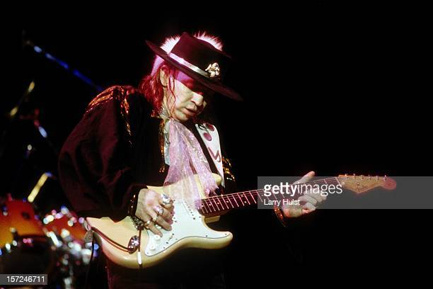 "Stevie Ray Vaughan performing with ""Double Trouble' at Concord Pavilion in Concord, California on May 24, 1987."