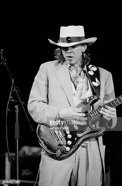Stevie Ray Vaughan performs on stage at The Chicago Blues Festival on June 7 1985 in Chicago Illinois
