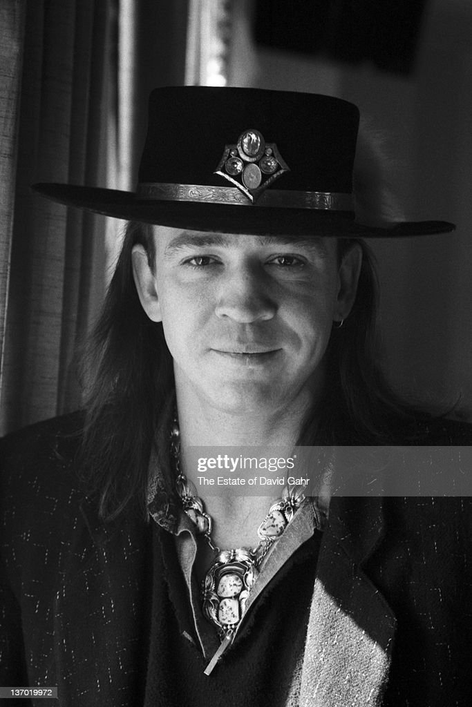 Stevie Ray Vaughan poses for a portrait in February, 1987 in Boston, Massachusetts.