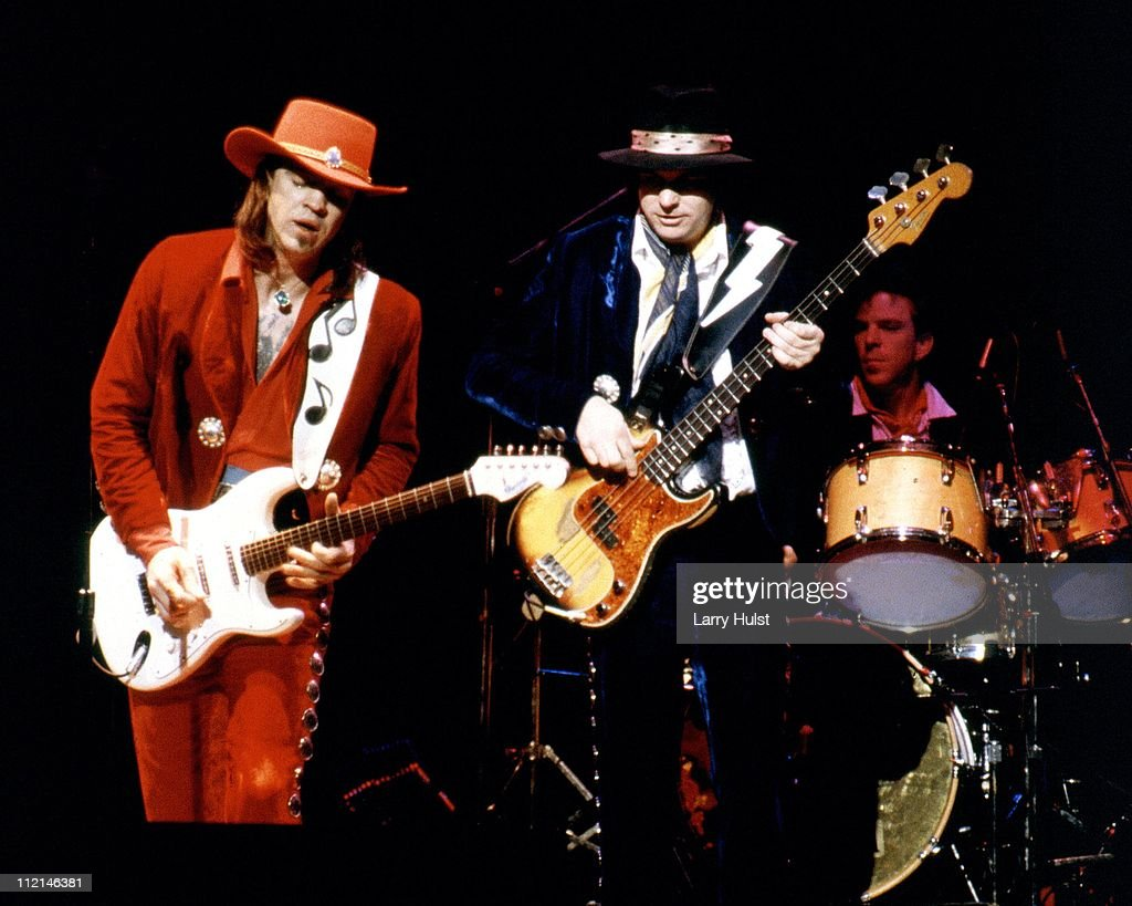 Stevie Ray Vaughn with Double Trouble performs at the Community Center in Sacramento, California on August 2, 1986.