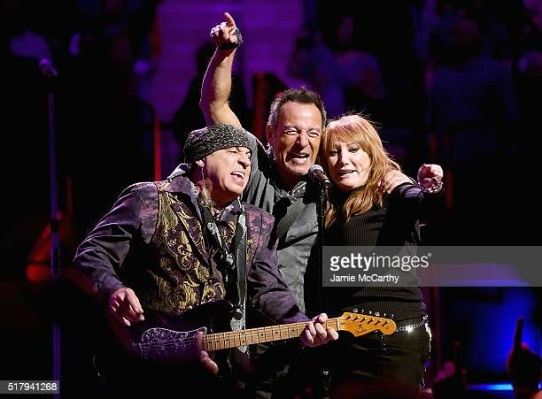 Stevie Van Zandt Bruce Springsteen and Patti Scialfa perform onstage at Madison Square Garden on March 28 2016 in New York City