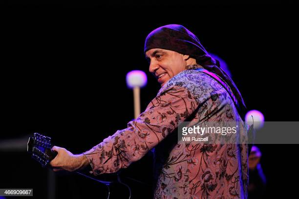 Stevie Van Zandt of the E Street Band performs at a sound check before a press conference at Perth Arena on February 5 2014 in Perth Australia Bruce...