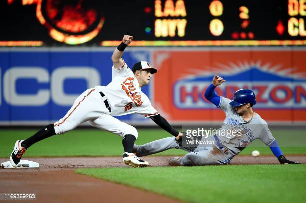 Stevie Wilkerson of the Baltimore Orioles is unable to make the tag on Cavan Biggio of the Toronto Blue Jays during the first inning at Oriole Park...