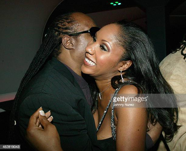 Stevie Wonder and Aisha Morris during Stevie Wonder Hosts Daughter Aisha Morris's 30th Birthday at BED in New York City New York United States