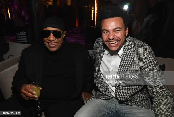 Stevie Wonder and Alex da Kid during Republic Records Grammy after party at Spring Place Beverly Hills on February 10 2019 in Beverly Hills California