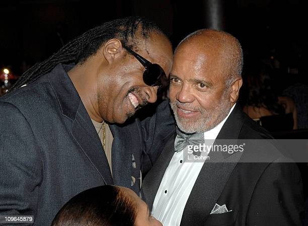 Stevie Wonder and Berry Gordy during MercedesBenz Presents the 17th Carousel of Hope Ball Backstage and Audience at Beverly Hills Hilton in Beverly...