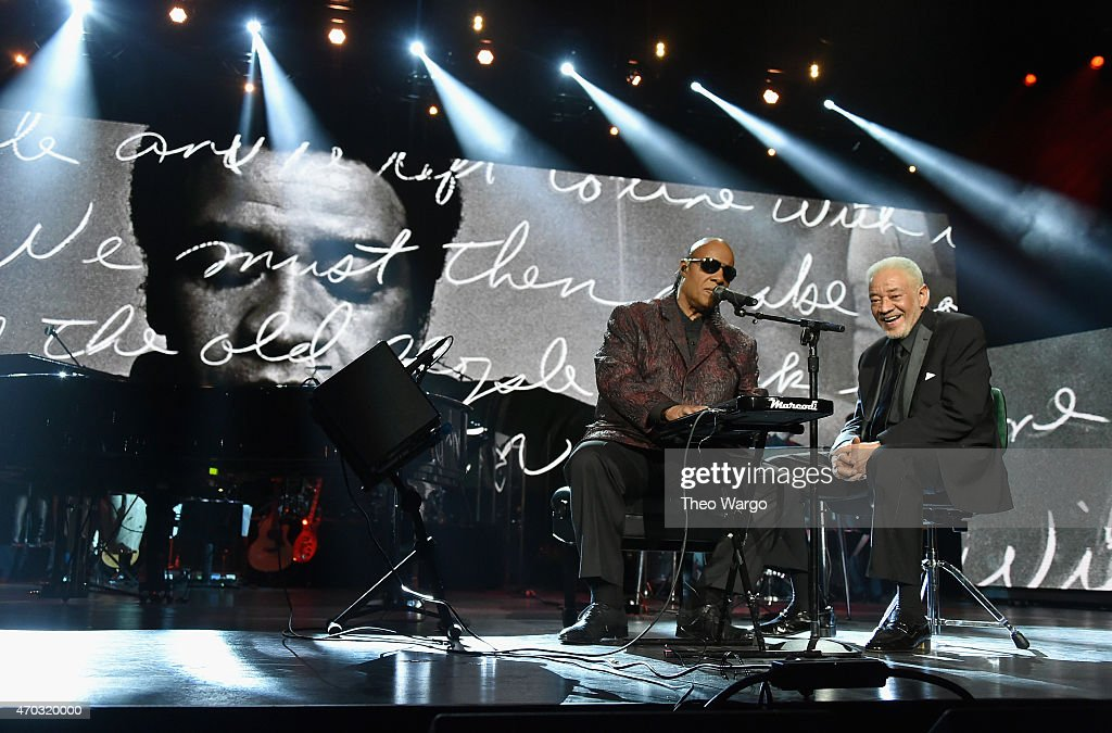 Stevie Wonder and Bill Withers perform onstage during the 30th Annual Rock And Roll Hall Of Fame Induction Ceremony at Public Hall on April 18, 2015 in Cleveland, Ohio.