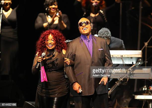 Stevie Wonder and Chaka Khan perform during the 'Official Prince TributeA Celebration of Life and Music' concert at Xcel Energy Center on October 13...