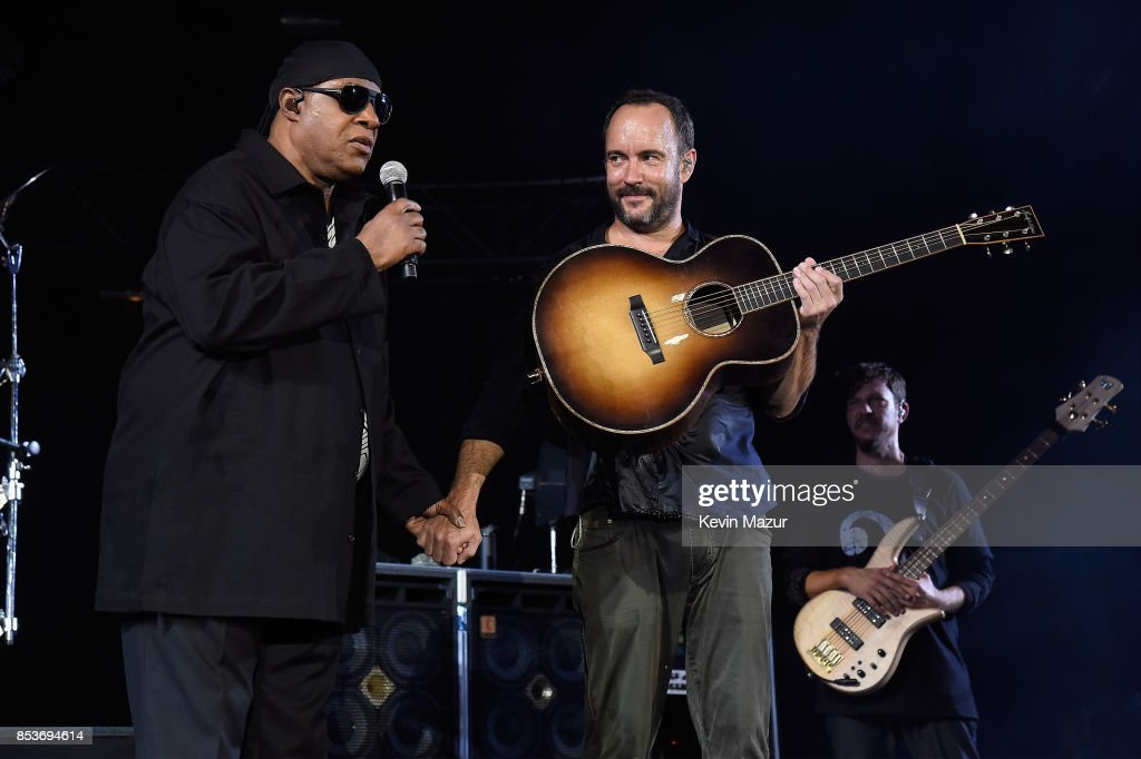 Stevie Wonder (L) and Dave Matthews perform at 'A Concert for Charlottesville,' at University of Virginia's Scott Stadium on September 24, 2017 in Charlottesville, Virginia. Concert live-stream presented in partnership with Oath.