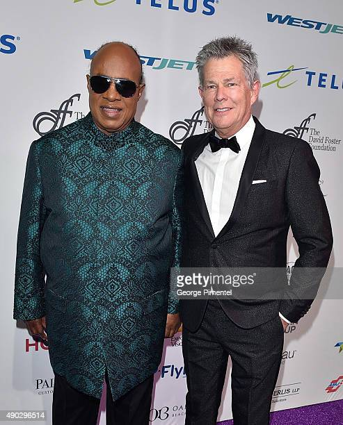 Stevie Wonder and David Foster attend David Foster Foundation Miracle Gala And Concert held at Mattamy Athletic Centre on September 26 2015 in...