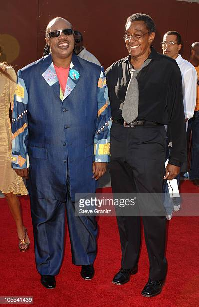 Stevie Wonder and Don Cornelius during 10th Annual Soul Train Lady of Soul Awards Arrivals at Pasadena Civic Auditorium in Pasadena California United...
